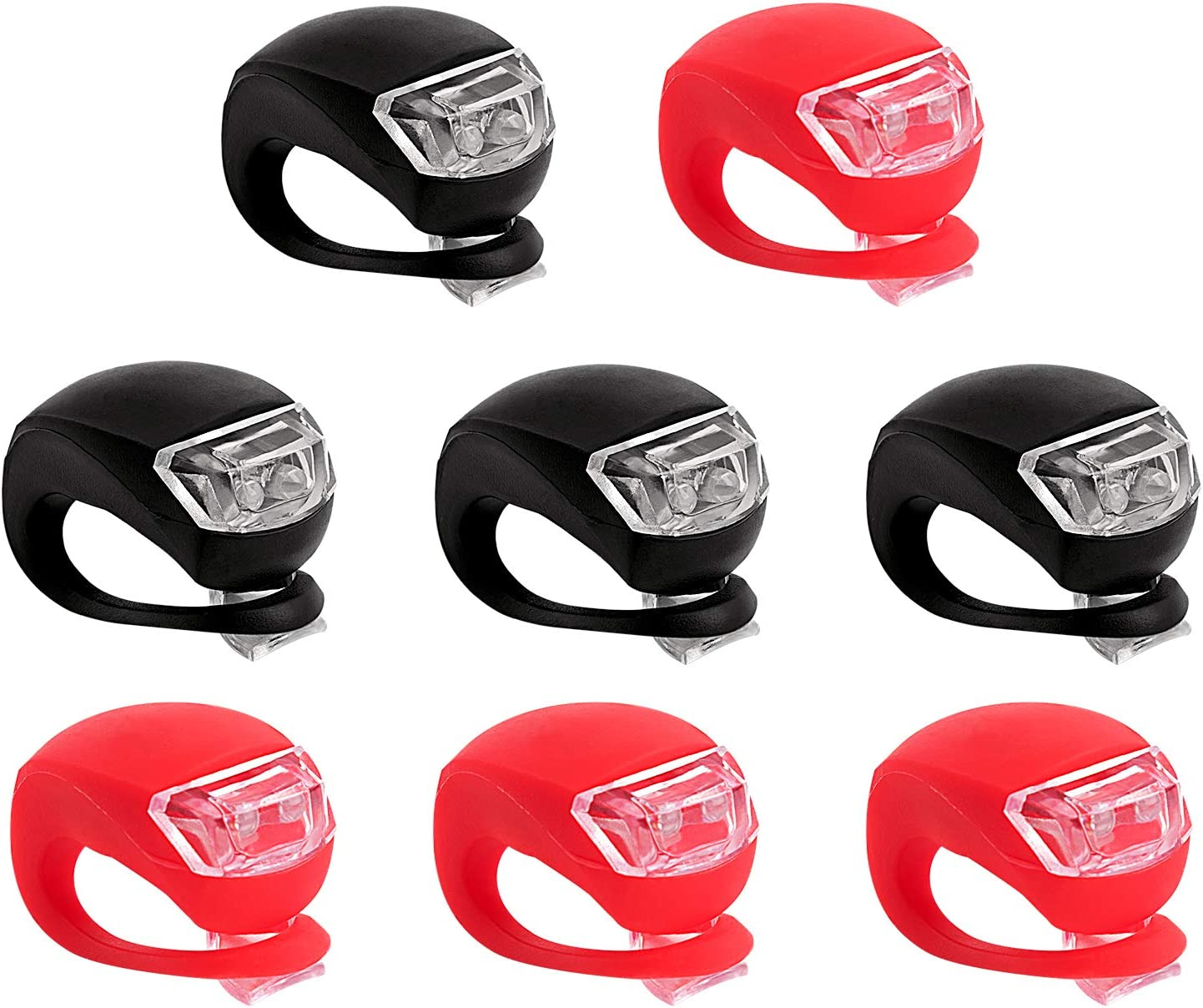 4pcs Bicycle Light Front and Rear Silicone LED Bike Light Headlight /& Taillight