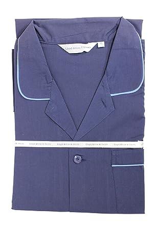 Lloyd Attree /& Smith Gents 100/% Cotton Pyjamas Pajamas in Navy /& Light Blue Trim