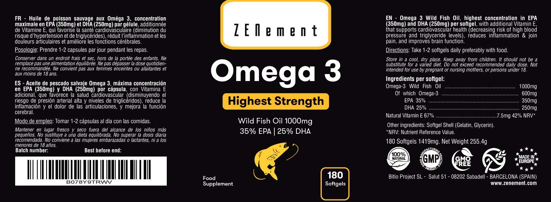 Omega-3 Aceite de Pescado Salvaje | 1000 mg x 180 perlas | Máxima concentración: 35% EPA + 25% DHA | Favorece la salud cardiovascular, de las ...
