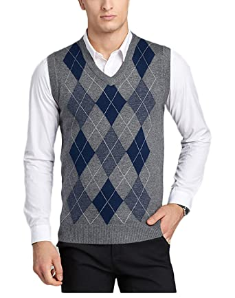 abb8245113af5b Men s V-Neck Argyle Pattern Sweater Business Vest Cardigan Knitted Waistcoat