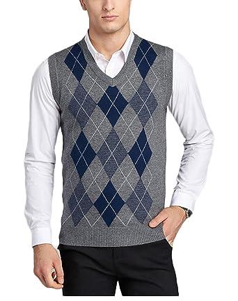 74f9d7bf35a82 Men s V-Neck Argyle Pattern Sweater Business Vest Cardigan Knitted Waistcoat