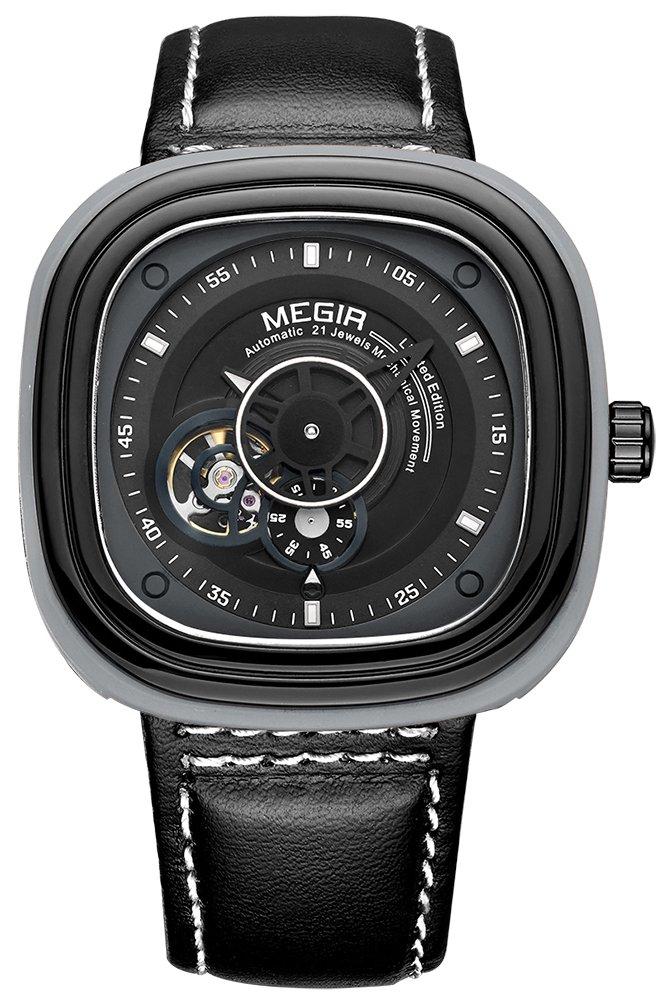 MEGIR メンズ 本革 バンド 合金 ケース自動 機械式 腕時計 正方形 防水 カジュアル ビジネス ウォッチ (ブラック) B071NDDXY6 ブラック ブラック