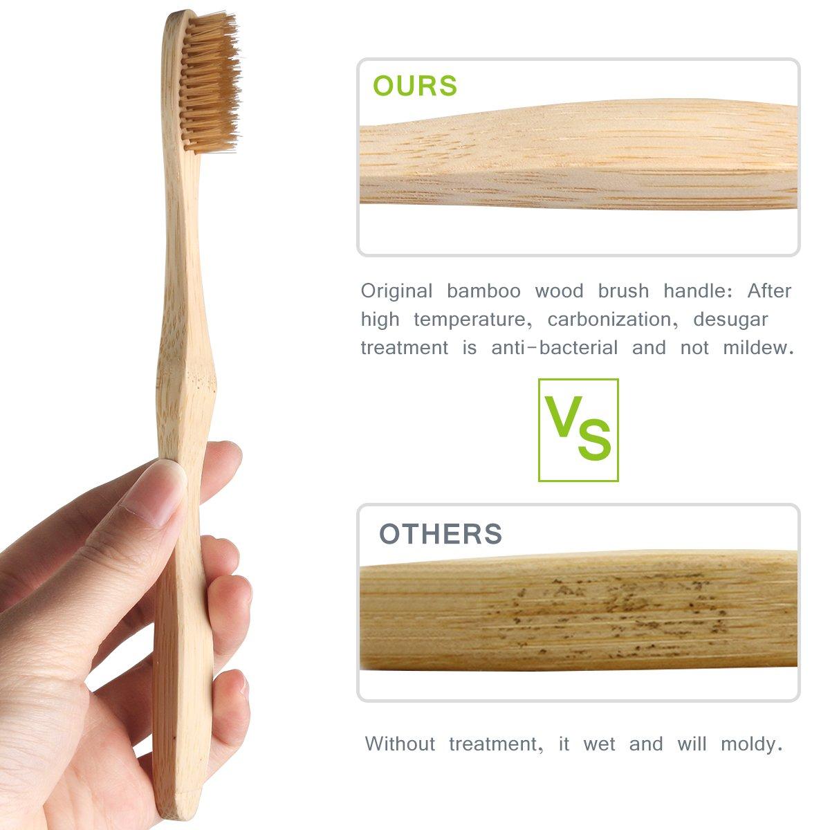 Bambú Cepillo de Dientes Biodegradable con Cerdas de Carbón de Leña para Toda Familia(4 pzas) -Duomishu