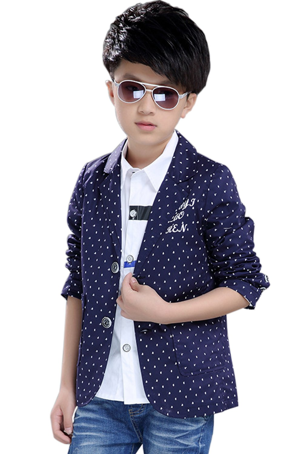 Boys' Fashion Suit Pocket Blazers Casual Jackets for Kids Size 2-12T