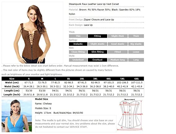 b6dd5a7edfffe Amazon.com  Faux Leather Corset Sexy Brown Zipper Steampunk Corset Lace Up  Back Vest Corset  Clothing