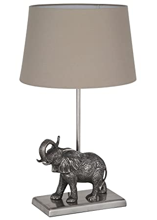 Elephant Table Lamp Antique Silver