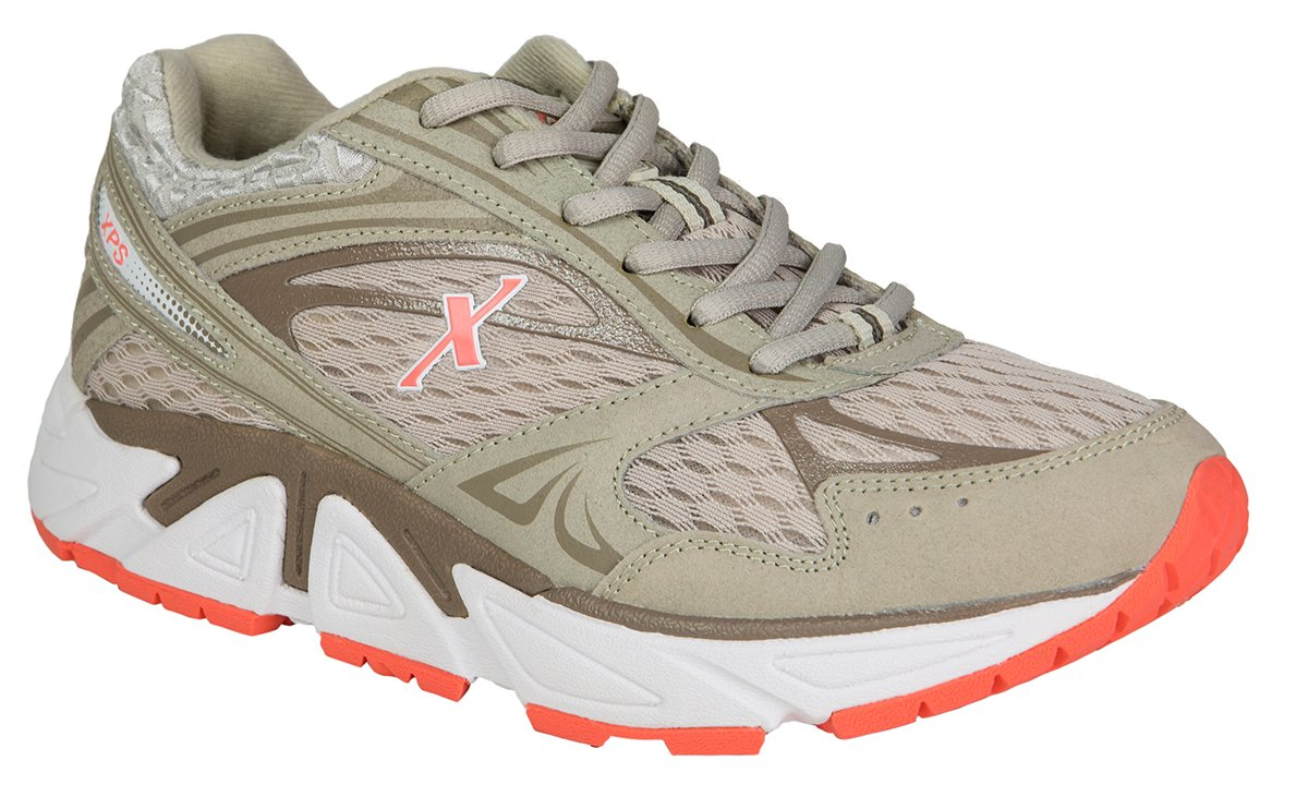 Xelero Genesis Women's Comfort Therapeutic Extra Depth Sneaker Shoe: Grey/Salmon 9.5 Wide (D) Lace