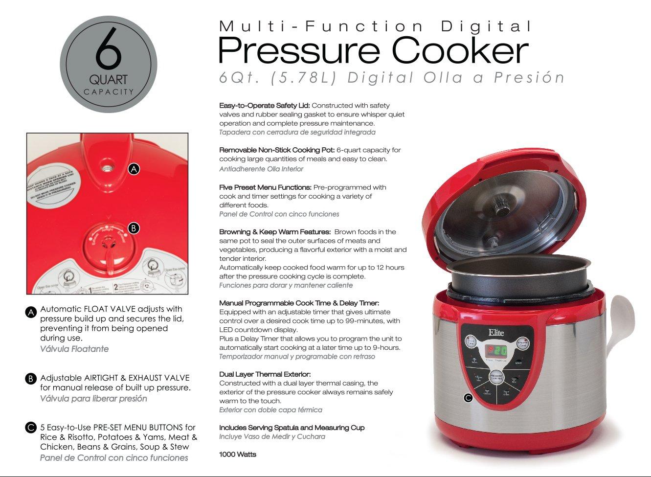 Elite Platinum EPC-607R Maxi-Matic 6 Quart Electric Pressure ...