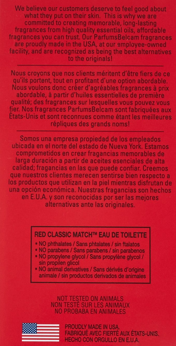 Red Classic Match - Version of Polo Red, Eau De Toilette 2.5 Fl ...