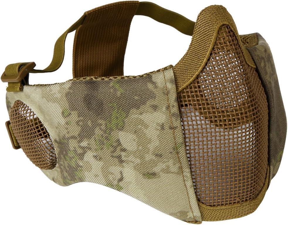 Aoutacc Máscara de airsoft plegable, media cara con protección de oído para Cs War Game, BB Gun, caza, Paintball