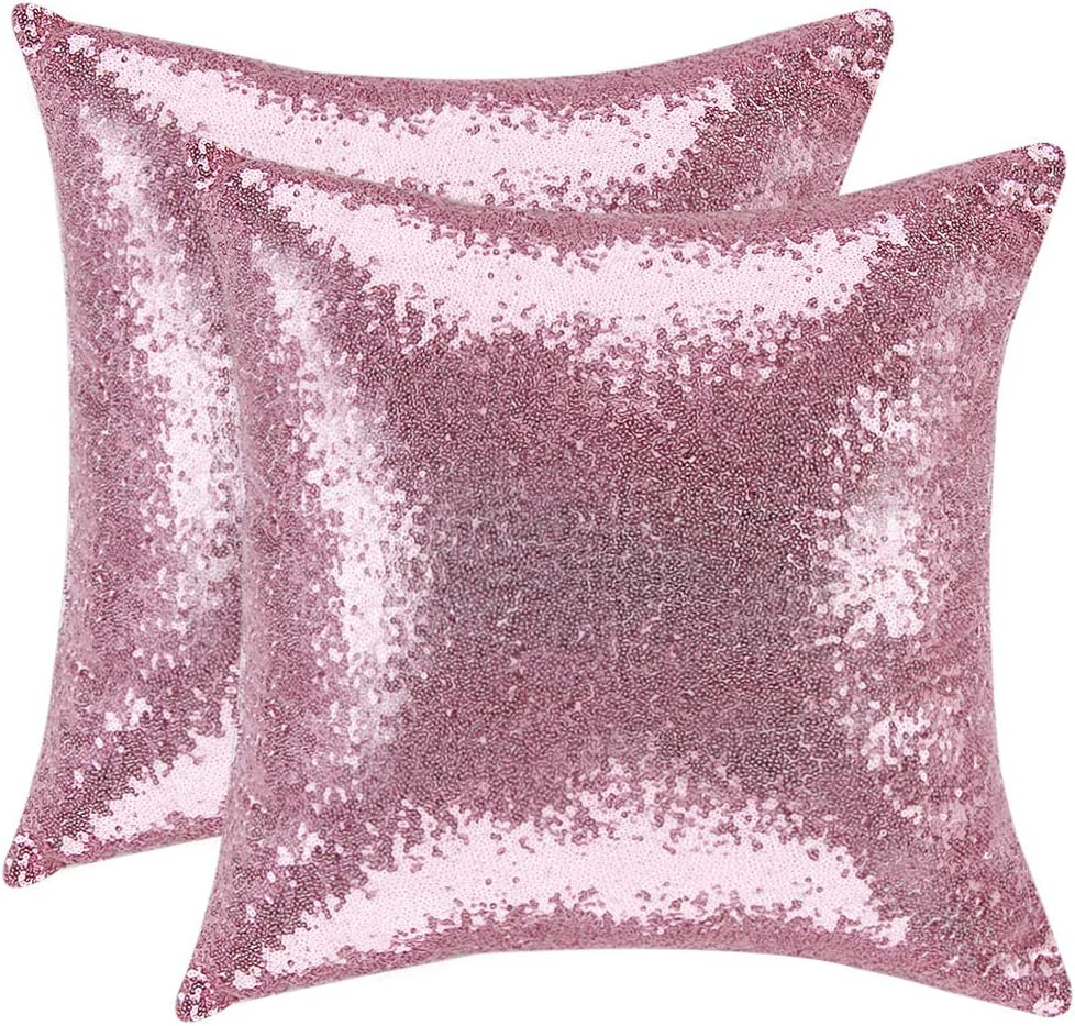PiccoCasa 2 Pcs Sequin Throw Pillow Covers, 18 x 18 Inch, Glitzy Decorative Cushion Covers, Shiny Sparkling Satin Pillowcase Cover for Livingroom Christmas Decor, Pink