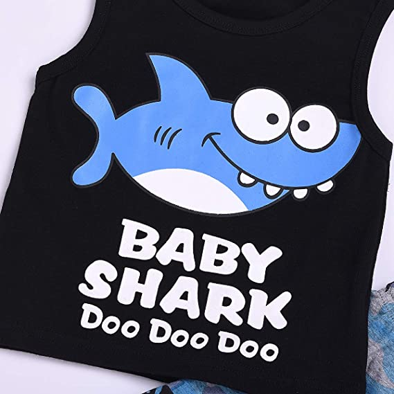 Camouflage Shorts Outfits BULINGNA Toddler Boy Summer Clothes Set Baby Shark Doo Doo Doo Tank Tops