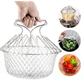 EpochAir Multi Purpose Stainless Steel Chef Basket Foldable Kitchen Cooking Steam Rinse Strain Fry Basket Mesh Net Handy Gadget Tools