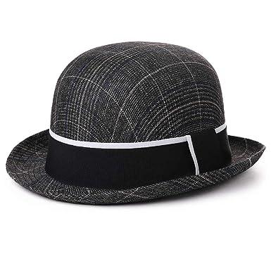 800984a56d0aa Mens Homburg Gangster Fedora Party Hats 1920s Derby Bowler Round Top Frank  Sinatra Hat Manhattan Mafia Godfather Winter Black Grey 99755   Amazon.co.uk  ...