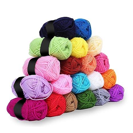 Hilo de ganchillo - 20 piezas de hilo de tejer crochet - Hilado de lana de