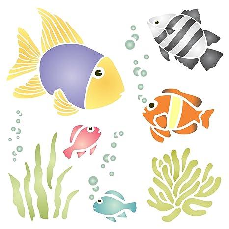 Stencil Riutilizzabile Da Parete Con Coralli Pesci Alghe Bolle Da