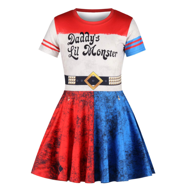 CBBI M/ädchen Kleid Harley Quinn Selbstmordkommando Kinder M/ädchen Party Prinzessin Kleider 7-11 Jahre