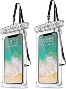 """ProCase Universal Waterproof Case Cellphone Dry Bag Pouch for iPhone 11 Pro Max Xs Max XR XS X 8 7 6S Plus SE 2020, Galaxy S20 Ultra S10 S9 S8 +/Note 10+ 9, Pixel 4 XL up to 6.9"""" - 2 Pack, Clear"""