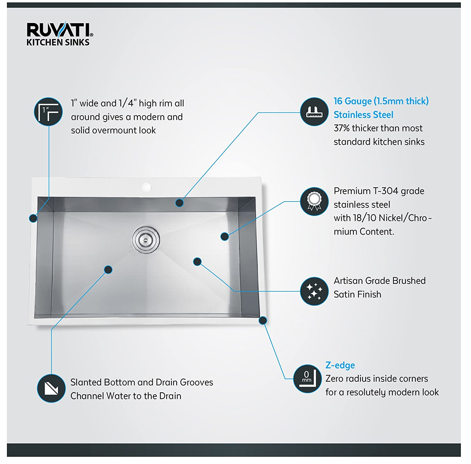 "Ruvati RVH8000 Drop in Overmount 33"" x 21"" Kitchen Sink 16 Gauge"
