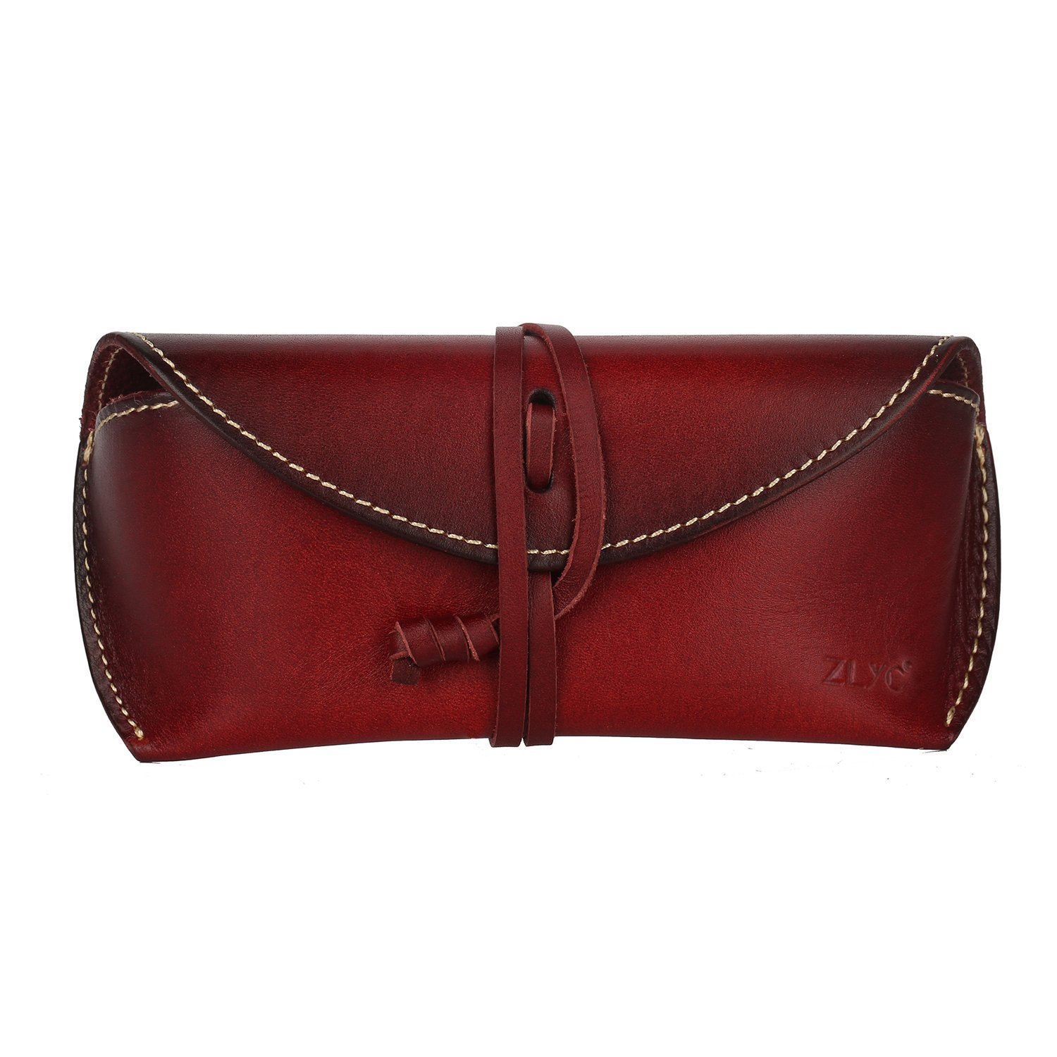 ZLYC Vegetable Tanned Leather Belt Closure Hard Eyeglass Case Sunglasses Holder, Dark Red JC-YJ-ZM-9091C-DR_CA