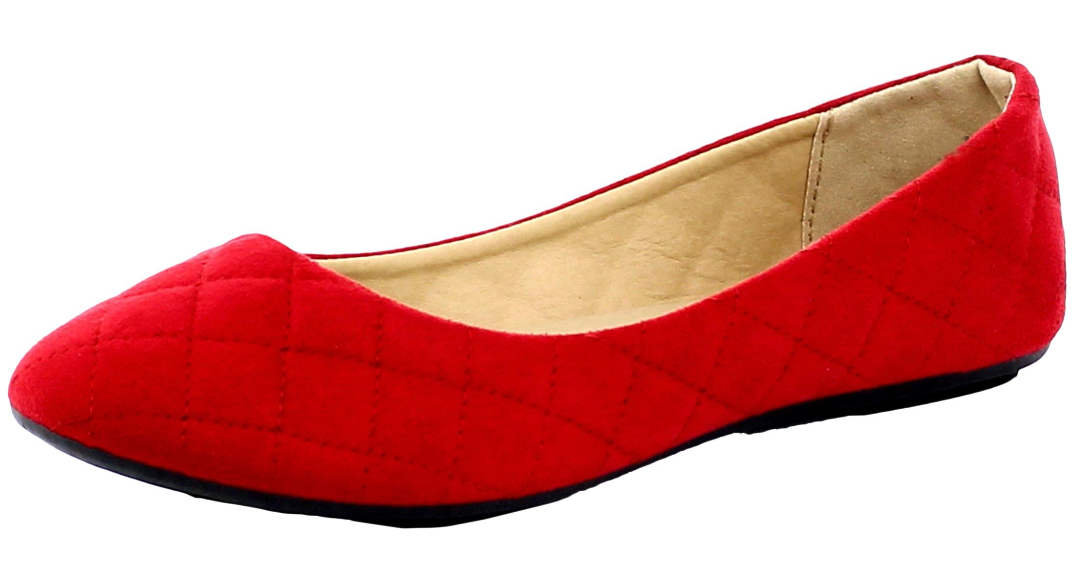 Refresh Footwear Women's Quilted Round Toe Ballet Flat (10 B(M) US, Red)