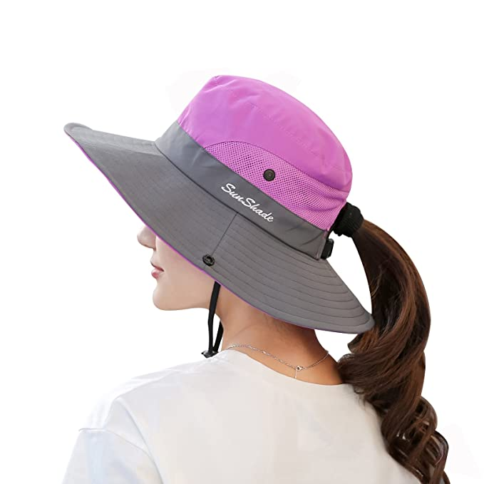 b91a3a2a1c8 Muryobao Women s Summer Sun Hat Outdoor UV Protection Foldable Wide Brim  Bucket Boonie Hats Beach Safari