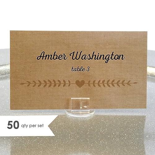 Amazon com: 50 Rustic Wedding Place Cards / Wedding Escort