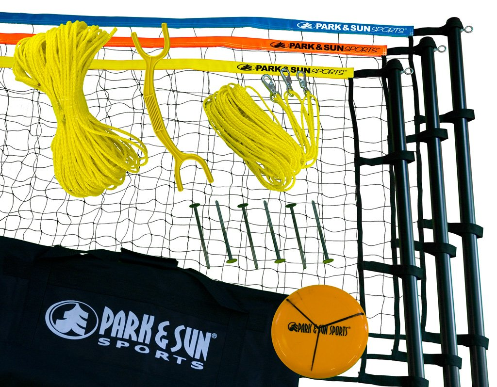Park & Sun Sports Tri-Ball Volleyball: Portable Outdoor 3-Way Net System, Recreational Series