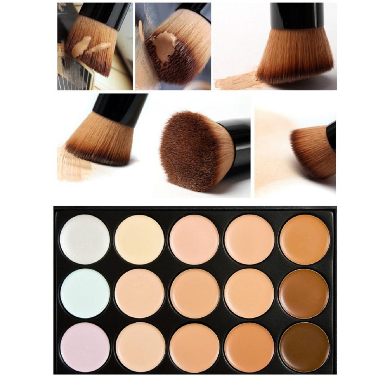 Lookatool Professional 15 Color Concealer Camouflage Makeup Palette With a Brush AK3-AT1-GL-M-X