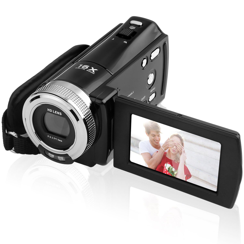 GordVE SJB05 Mini DV C8 16MP High Definition Digital Video Camcorder DVR 2.7'' TFT LCD 16x Zoom Hd Video Recorder Camera 1280 x 720p Digital Video Camcorder(Black) COMINU032439
