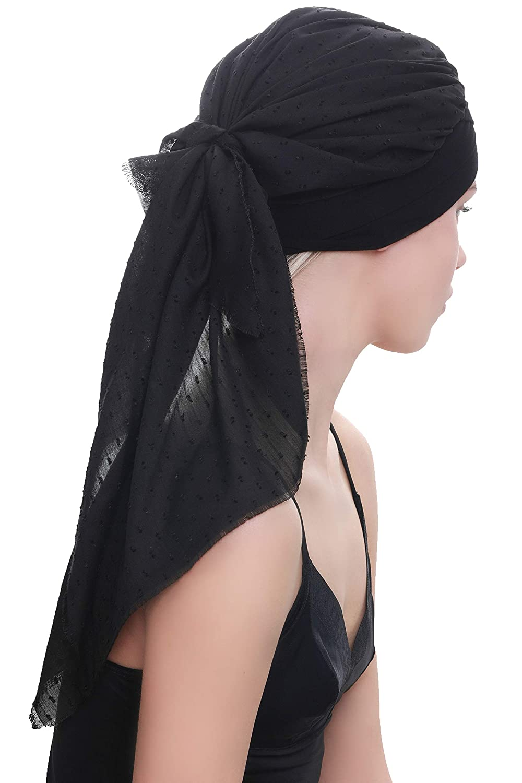 Le Cancer Deresina W Cotton Cap avec Foulard attach/é pour la Perte de Cheveux