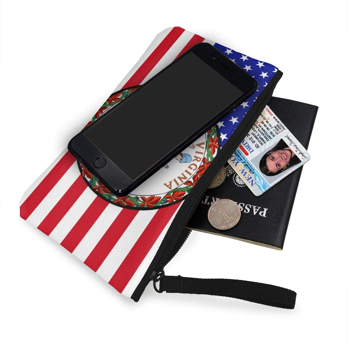 Maple Memories Virginia Flag Portable Canvas Coin Purse Change Purse Pouch Mini Wallet Gifts For Women Girls