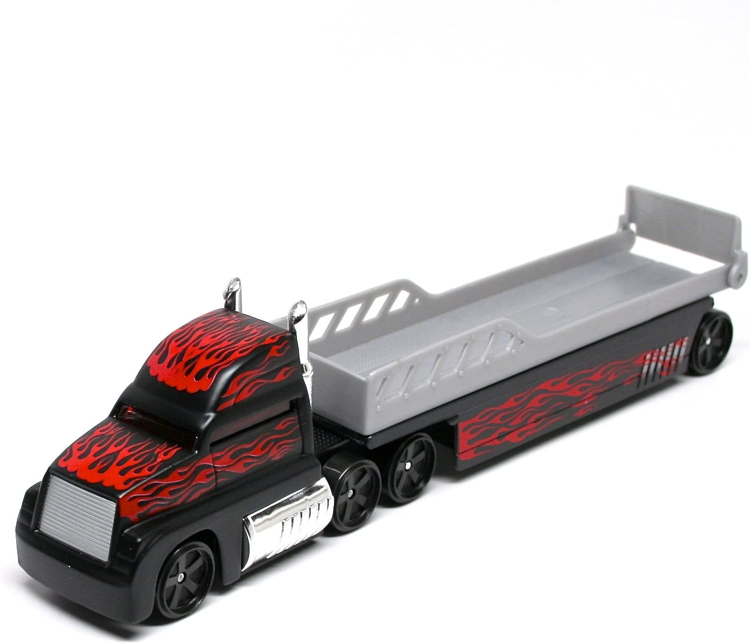 * On the Road Series Black w//Flames Semi Truck Vehicle Collection Auto Transport Flatbed Maisto Highway Haulers 2010 Fresh Metal Die-Cast Tractor Trailer