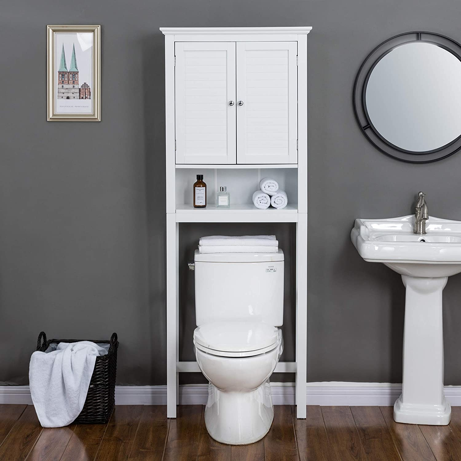 """Glitzhome 68"""" H Over-The-Toilet Bathroom Storage Space Saver Cabinet"""