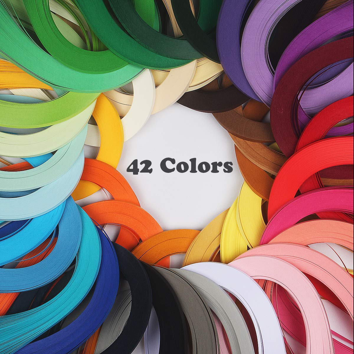 Paper Quilling Strips Kits - 42 Colors One Color and 120 Strips per Pack 3/5/10mm Width Available (540mm x 3mm) by weeksweet