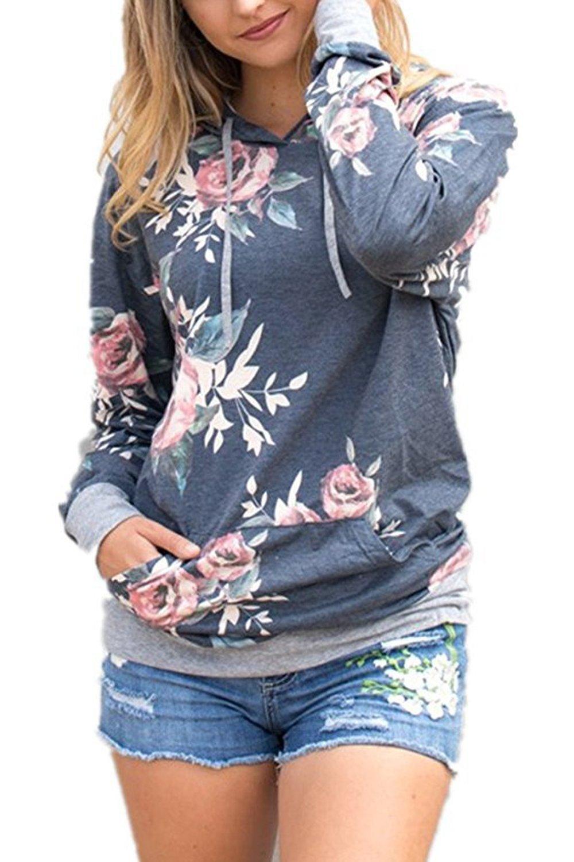 Assivia Women's Sweatshirt Hoodie Floral Printed Long Sleeve Tunic Tops Pocket