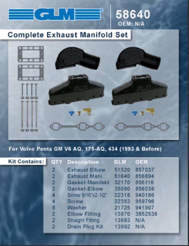 Manifold Exhaust Marine Volvo Penta AQ GM 262 4.3L V6 1993 Earlier 856894