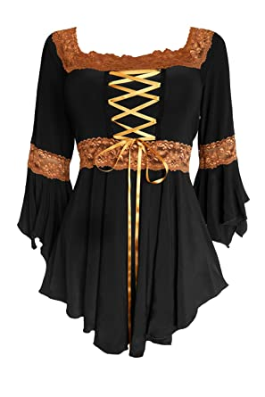 d790f6c1b94 Dare to Wear Renaissance Corset Top  Victorian Gothic Boho Women s Peasant  Blouse for Everyday Halloween