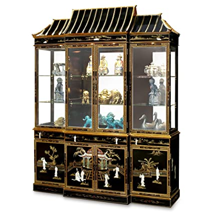 ChinaFurnitureOnline China Furniture Online Black Lacquer China Cabinet,  Pagoda Top Motif With Mother Pearl Courtesan