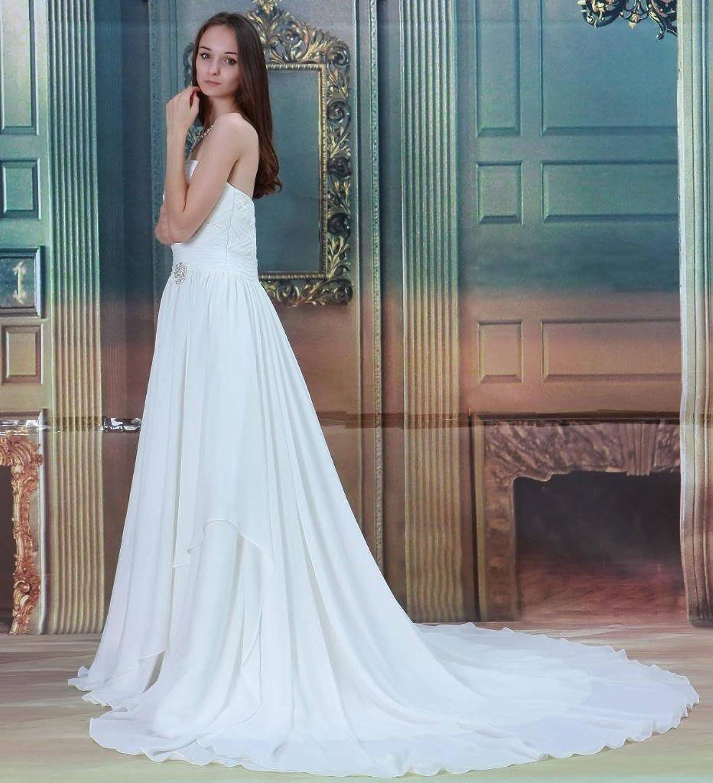 GEORGE BRIDE Herz-Ausschnitt Chiffon Strand Kapelle-Schleppe Hochzeitskleid:  Amazon.de: Bekleidung