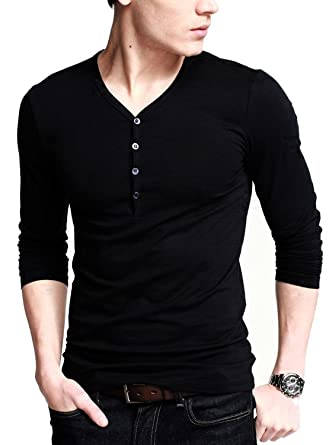 Neonysweets Mens Long Sleeve Henley Shirts With Button Placket at ...