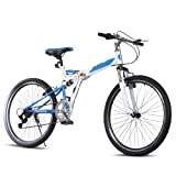 "Ancheer Mountain Bike 26"" Wheels 7 speed Folding Dual-Suspension Mountain Bicycle"