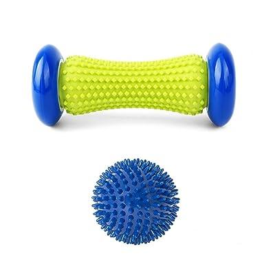 Rouleau de masseur de pied et boule épineuse - Thérapie d'outil de massage réglée pour le soulagement de douleur de muscle - Boule d'exercice de bâton de rouleau de muscle Perfectionnez pour