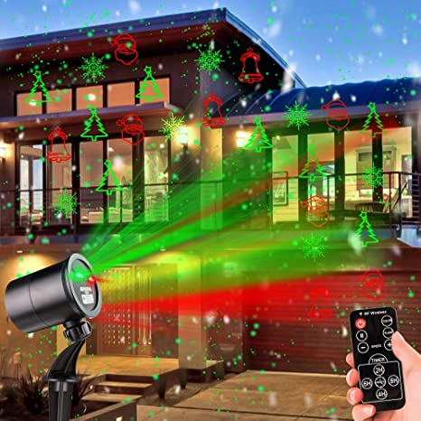 Christmas Laser Stars Night Light Sparking Red and Green LED Projector Outside