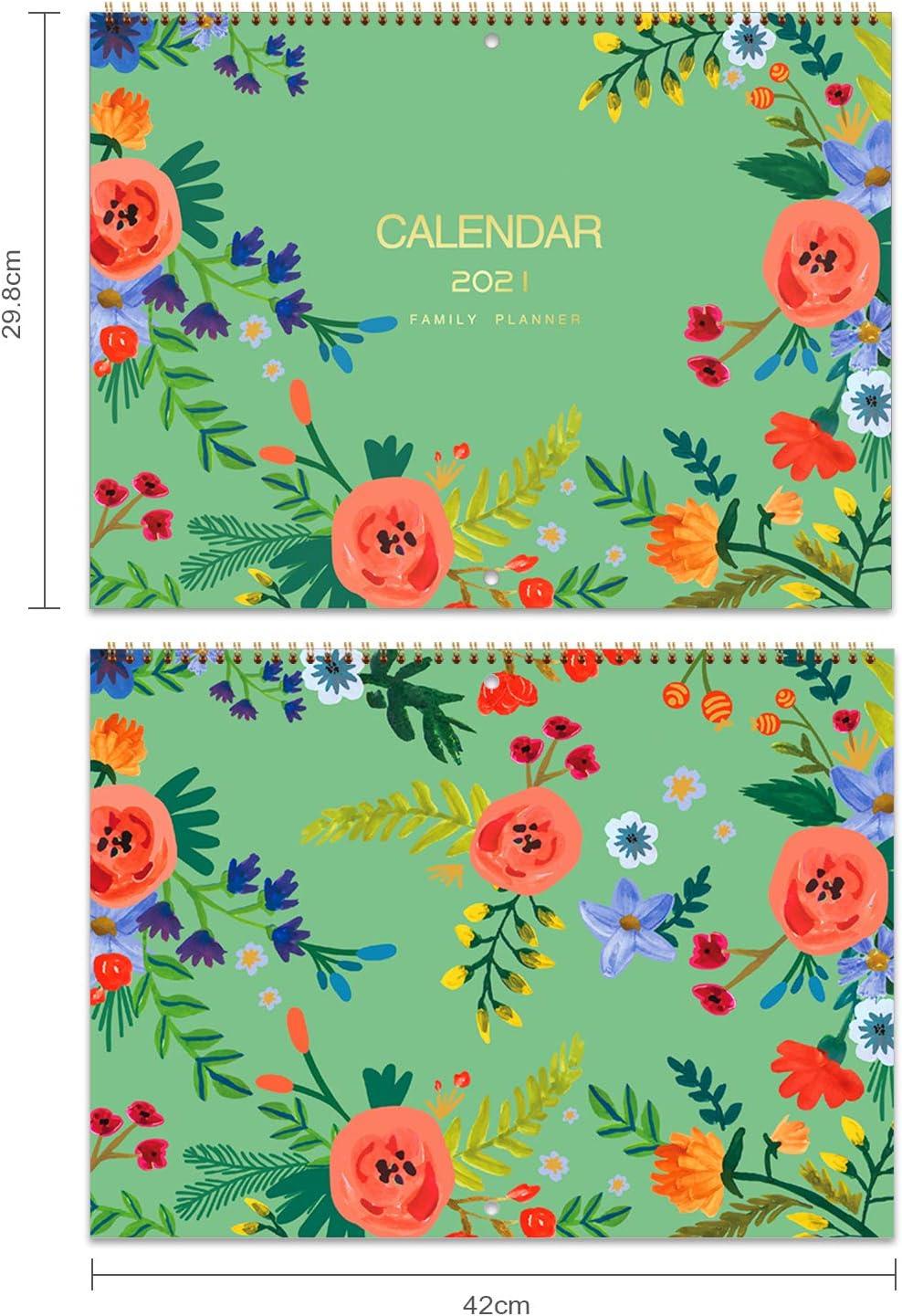 papier /épais et solide double 39 X 29 cm Reliure m/étallique Mois pour voir Organisateur familial 2021 avec poche int/érieure Calendrier mural 2021 // Agenda familial