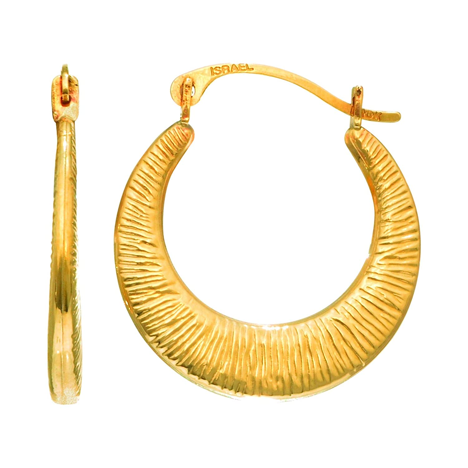 14K Yellow Gold Shiny Graduated Textured Hoop Earrings with Hinged by Icedtime