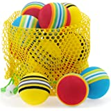 Chiwava 1.7'' Soft Foam Cat Toy Ball Rainbow Color Ball Kitten Activity Chase Play Mix Color