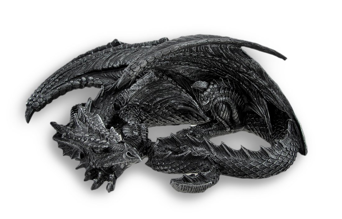 Things2Die4 Somasaurus Metallic Black Gothic Sleeping Dragon Statue 12 in.