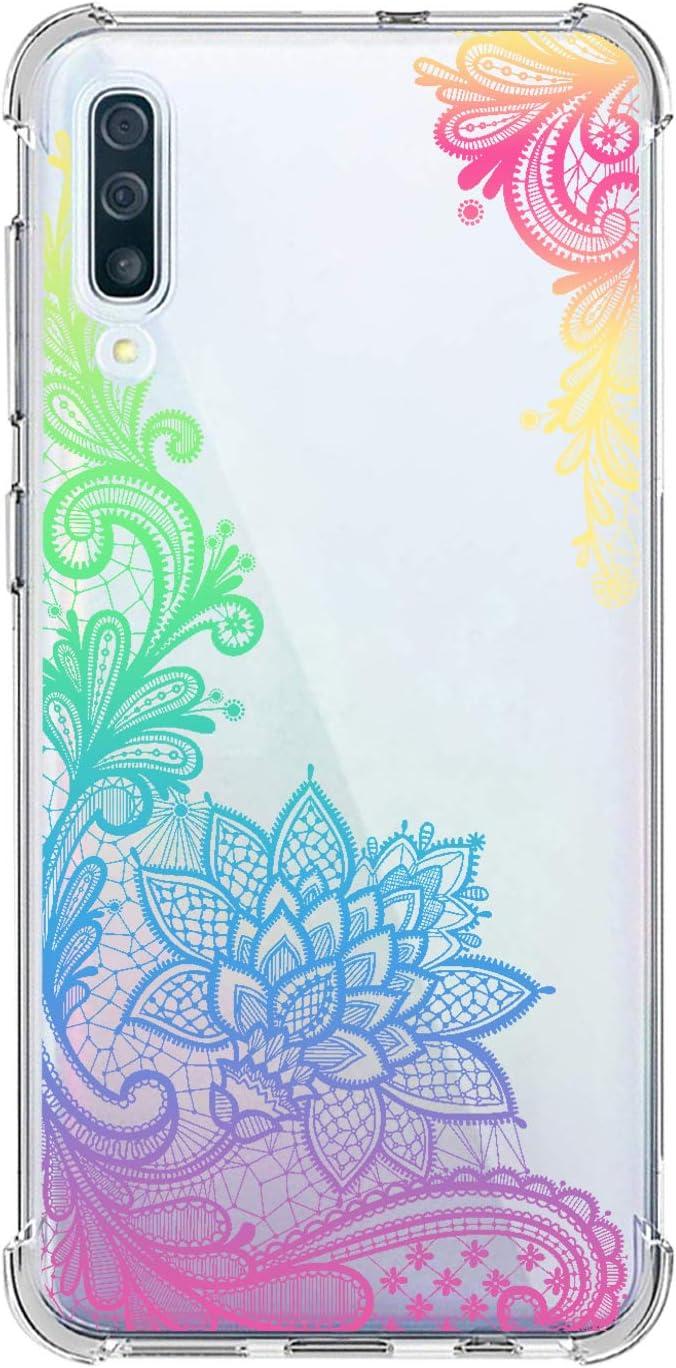 Suhctup Funda Compatible con Samsung Galaxy A50 Carcasa Transparente,Dibujo Diseño Flor [Protección Caídas] Ultra-Delgado Flexible Silicona TPU Estuche Cover para Galaxy A50,Mandala 7