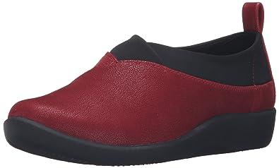Clarks Women's Sillian Greer Slip-On Loafer, Cherry Synthetic Nubuck, ...